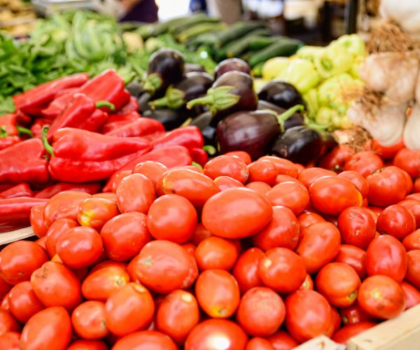 tomatoes and vegetables on the market