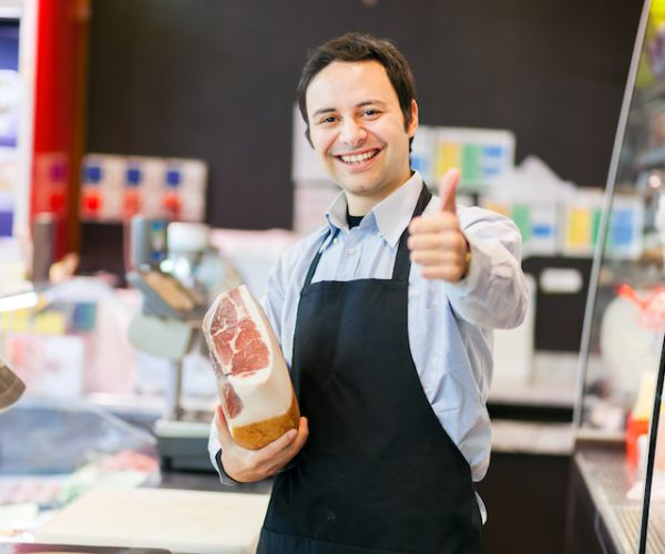 Smiling shopkeeper